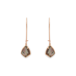 Kendra Scott Carinne Earrings in Rose Gold and Black Crystal