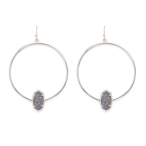 Kendra Scott Elora Earrings in Rhodium and Multi Druzy