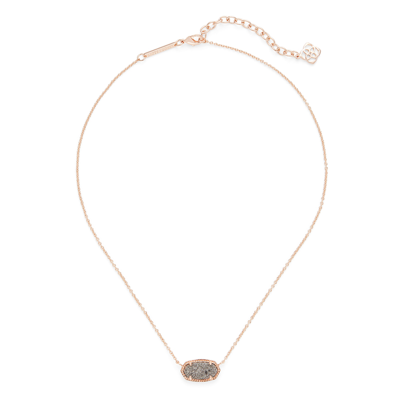 Kendra Scott Elisa Necklace in Rose Gold and Platinum Druzy