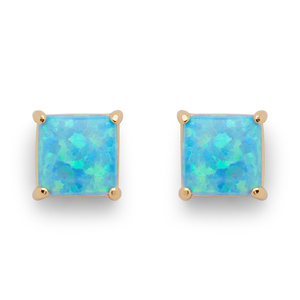 Perry Street Marina Square Studs in Blue Opal