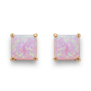 Perry Street Marina Square Studs in Pink