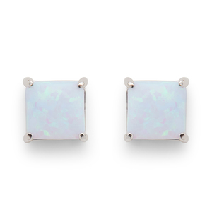 Perry Street Marina Square Studs in Light Blue Opal