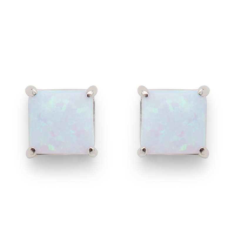 Perry Street Marina Square Studs in Light Blue