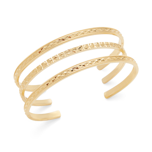 Aster Gardenia Cuff Set of 3 in Gold