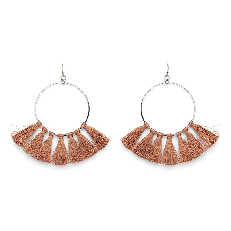 Aster Carnation Hoops in Silver & Bronze