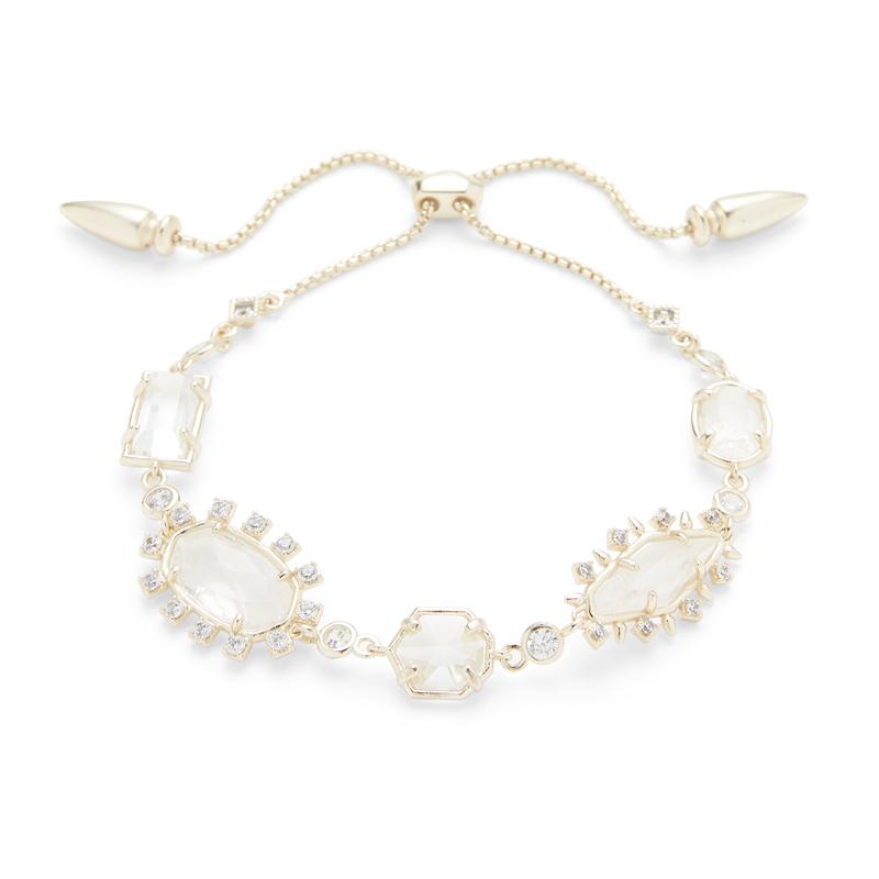 Kendra Scott Alicia Adjustable Bracelet in Gold and Rock Crystal Mix