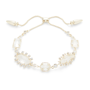 Kendra Scott Alicia Adjustable Bracelet in Gold and Rock Crystal Mix