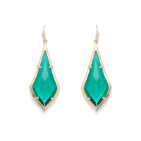 Kendra Scott Olivia Earrings in Brass and Emerald Glass