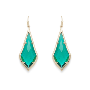 Kendra Scott Olivia Earrings in Brass and Emerald Glass