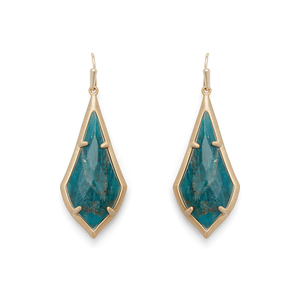 Kendra Scott Olivia Earrings in Brass and Aqua Apatite