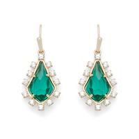 Kendra Scott Juniper Drop Earrings in Brass and Emerald Glass
