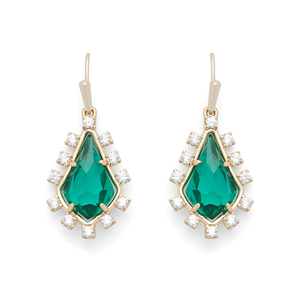 Kendra Scott Juniper Drop Earrings in Brass and Emerald Glass