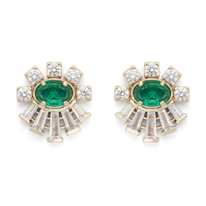 Kendra Scott Atticus Studs in Brass and Emerald Glass