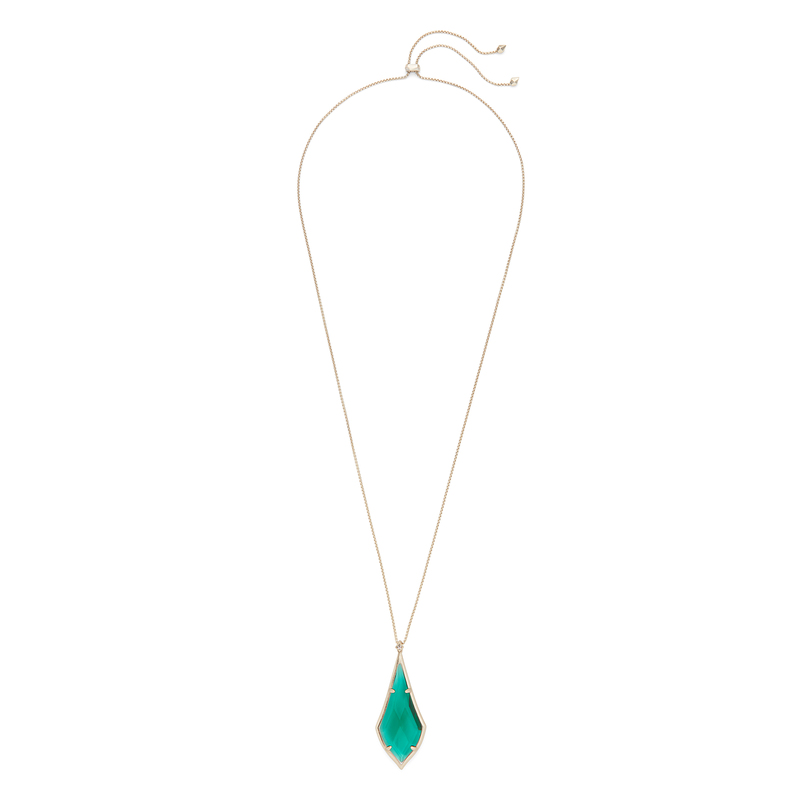 Kendra Scott Damon Long Pendant in Brass and Emerald Glass