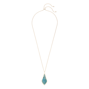 Kendra Scott Damon Long Pendant in Brass and Aqua Apatite