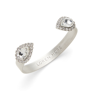 Loren Hope Small Sara Cuff in Silver and Crystal