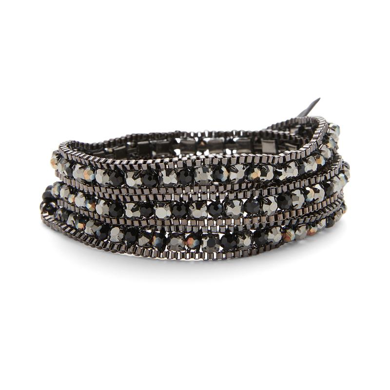 Nakamol Gunmetal wrap with dark metallic beads