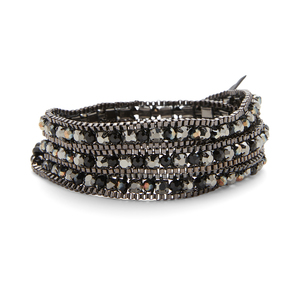 Nakamol Gunmetal wrap with dark metallic beads