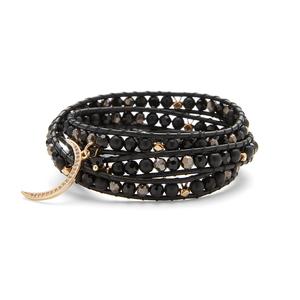 Nakamol Black and Metallic Wrap with Gold Moon Charm
