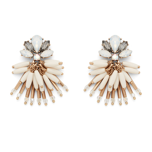 Perry Street Flora Statement Earrings in Gold and Cream