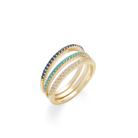 Sophie Harper Blue Ombré Ring Stack in Gold