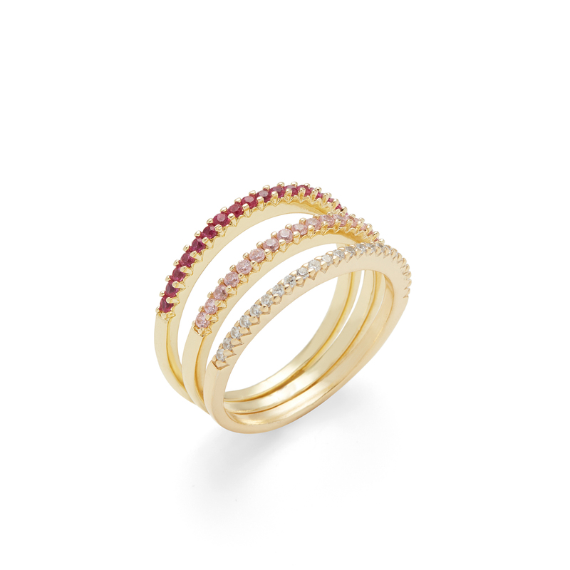 Sophie Harper Pink Ombré Ring Stack in Gold