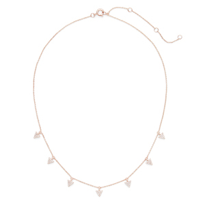 Sophie Harper Triangle Pavé Charm Necklace in Rose Gold and Crystal