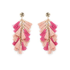 WILDE Milan Earrings in Gold with Peach and Very Berry