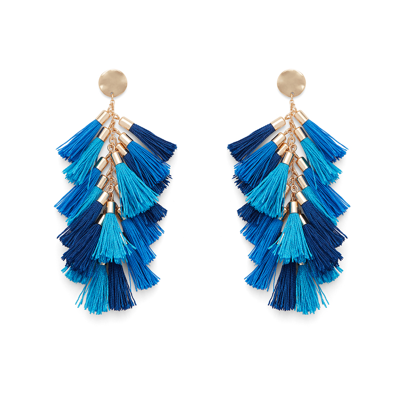 WILDE Milan Earrings in Gold with Turquoise and Cobalt