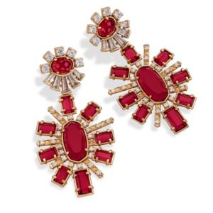 Kendra Scott Glenda Statement Earrings in Gold and Berry Glass