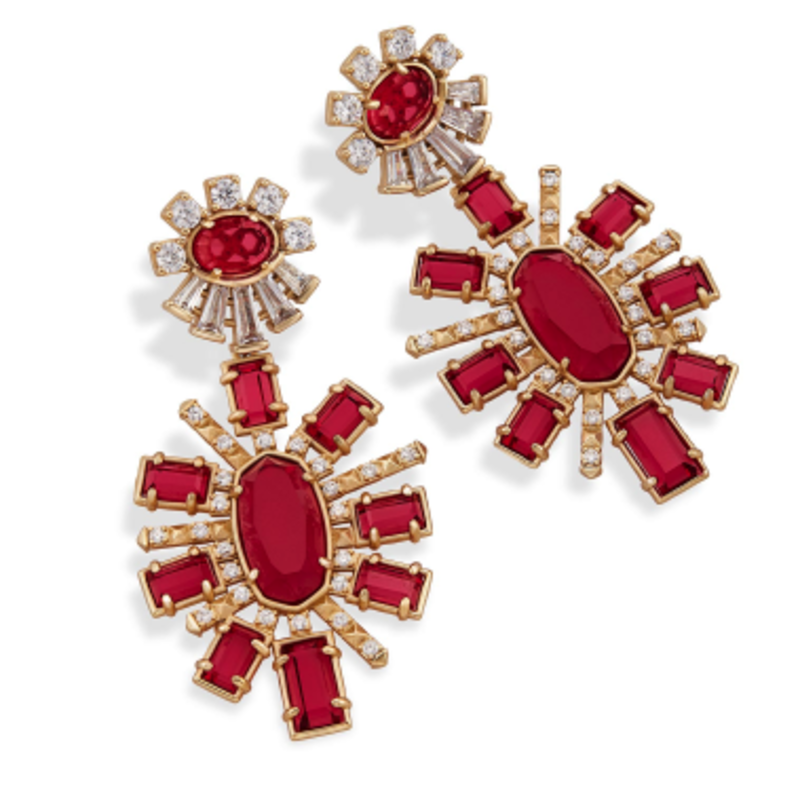 Kendra Scott Glenda Statement Earrings in Gold and Berry Glass
