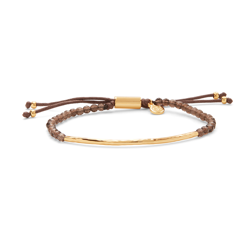 Gorjana Power Gemstone Bracelet in Gold and Smokey Quartz