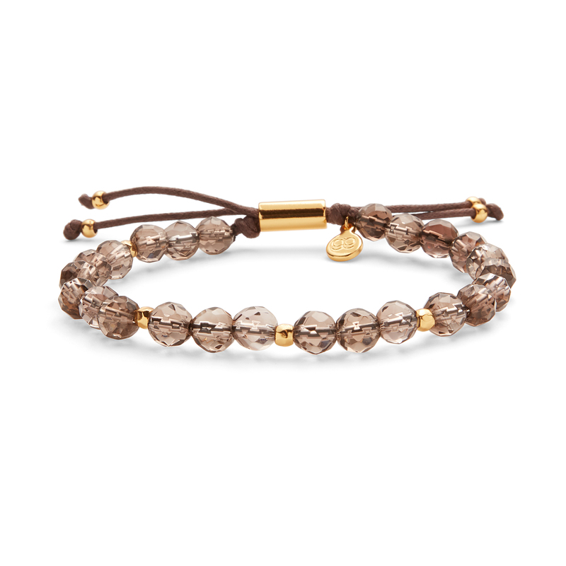 Gorjana Power Gemstone Beaded Bracelet in Gold and Smoky Quartz