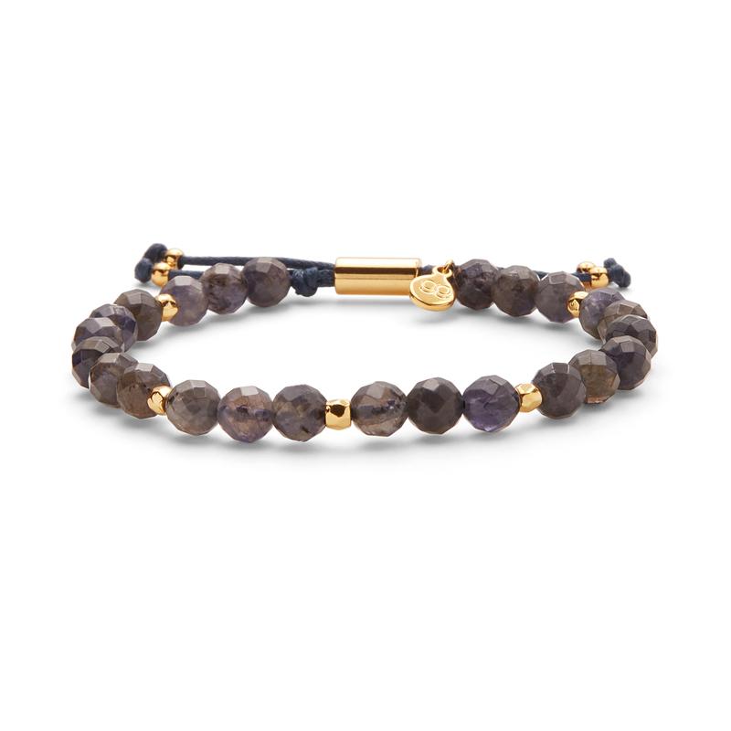 Gorjana Power Gemstone Beaded Bracelet in Gold and Iolite