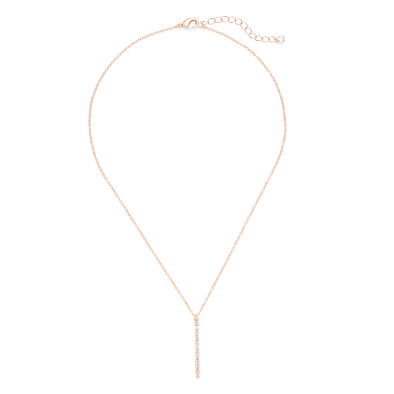 Sophie Harper Vertical Baguette Necklace in Rose Gold