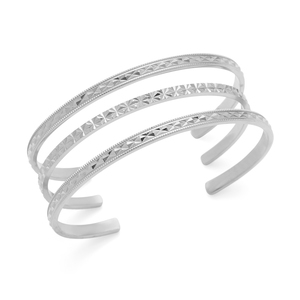 Aster Gardenia Cuff Set of 3 in Silver