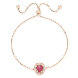 Aster Lupine Pavé Slider Bracelet in Gold and Berry