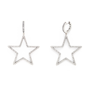 Kate Spade Star Hoops in Silver