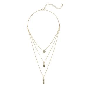 Aster Ren Layered Necklace in Gold & Platinum Druzy