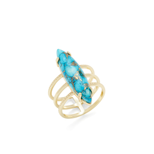 Ava Rose Chandler Ring in Gold and Copper Turquoise