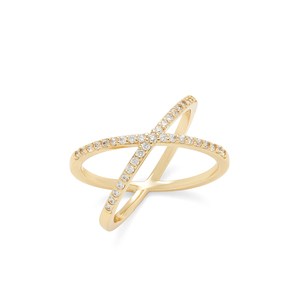 Sophie Harper Pave X Ring in Gold