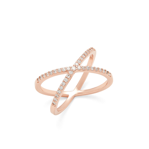 Sophie Harper Pave X Ring in Rose Gold
