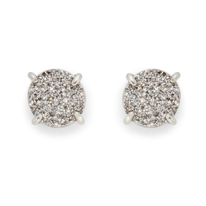Ava Rose Charlotte Studs in Silver and Platinum Druzy