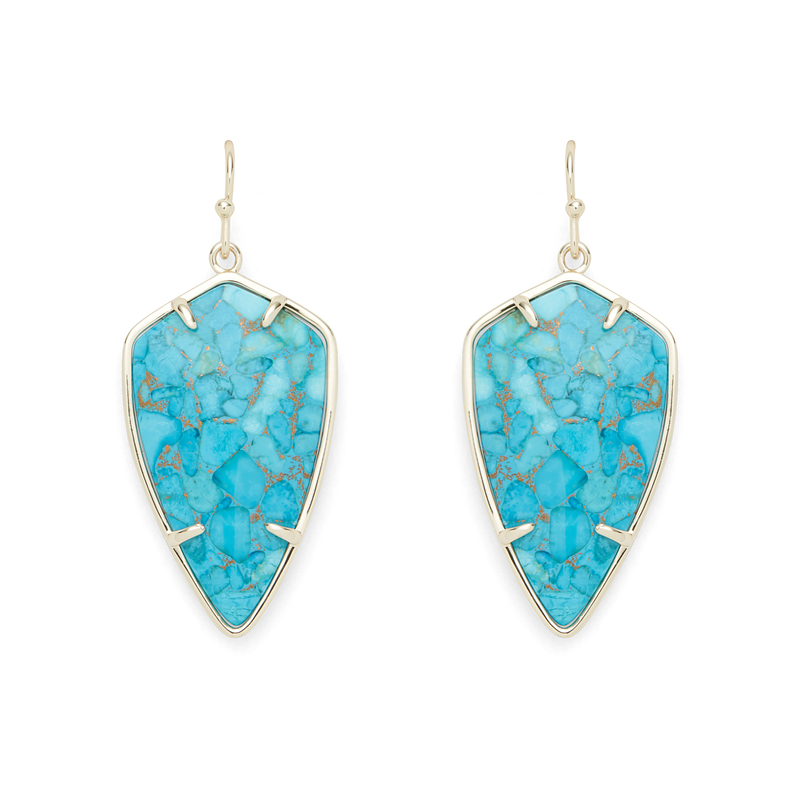 Ava Rose Camden Earrings in Gold and Copper Turquoise