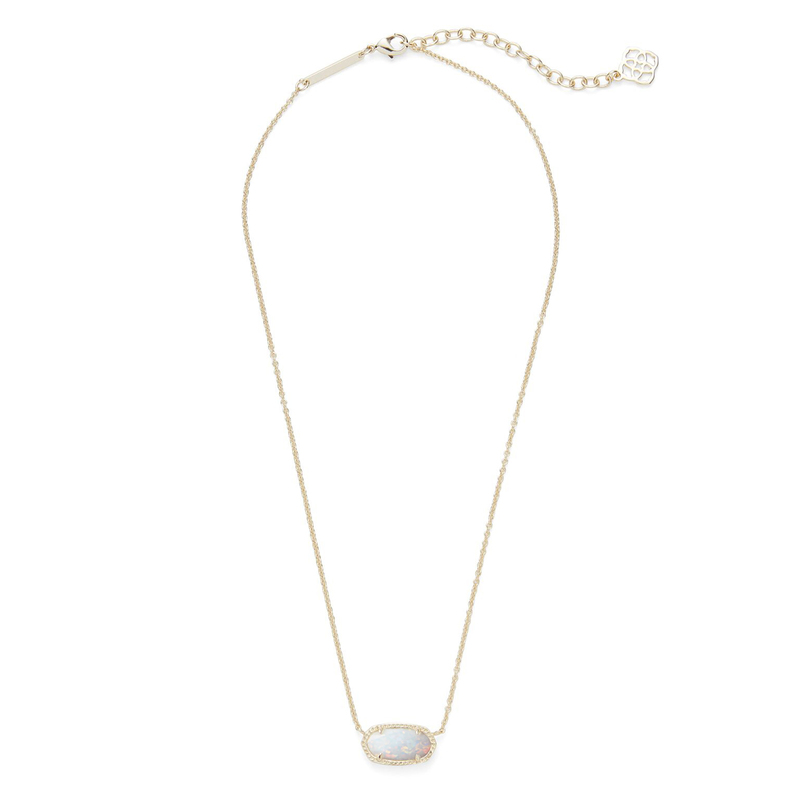 Kendra Scott Elisa Necklace in Gold White Kyocera Opal