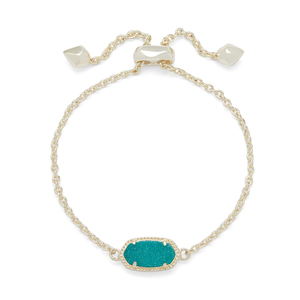 Kendra Scott Elaina Bracelet in Gold and Teal Drusy
