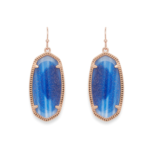Kendra Scott Elle Earrings in Rose Gold and Navy Dusted Glass