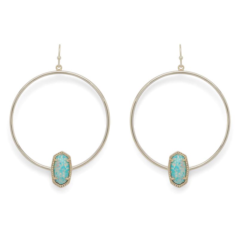 Kendra Scott Elora Earrings in Gold and Aqua Opal