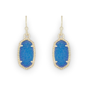 Kendra Scott Lee Earrings in Gold and Cobalt Druzy
