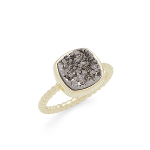 Aster Zinnia Ring in Gold & Silver Druzy